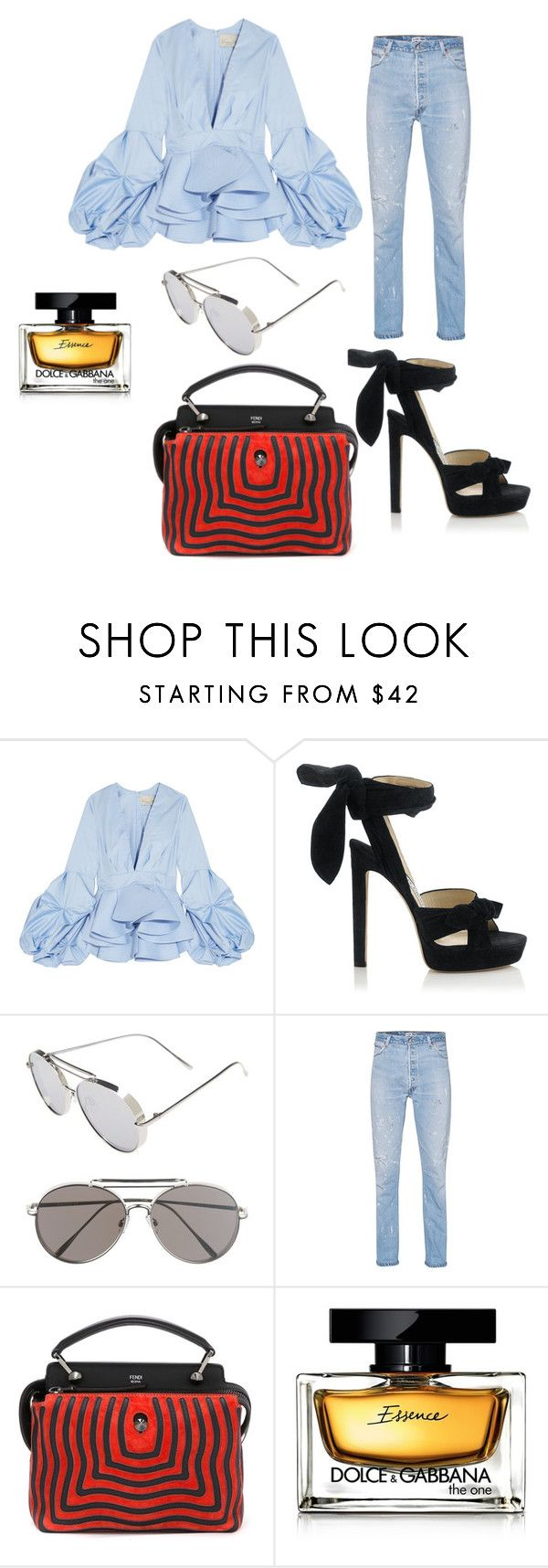 """Typically"" by divinenk ❤ liked on Polyvore featuring Johanna Ortiz, Jimmy Choo, Circus by Sam Edelman, RE/DONE, Fendi and Dolce&Gabbana"