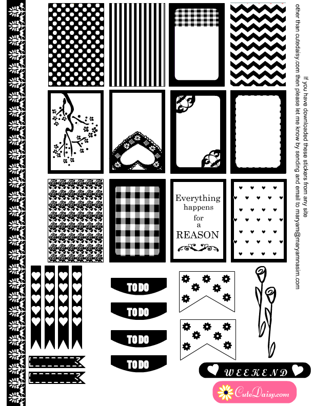 Free Printable Black And White Stickers For Happy Planner Stickies