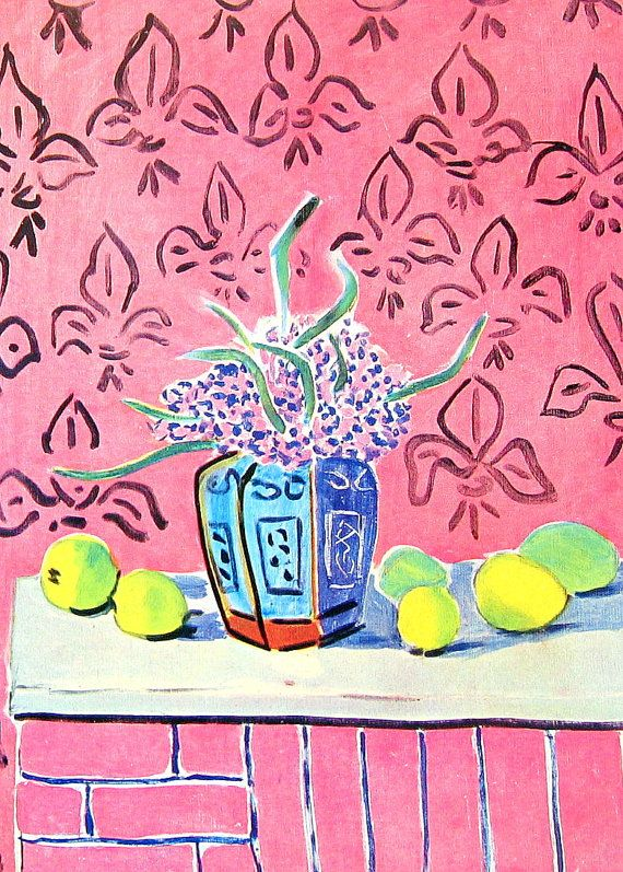 1951 Henri Matisse Print Lemons against Pink Background - Vintage Magazine Page just look at these colors!