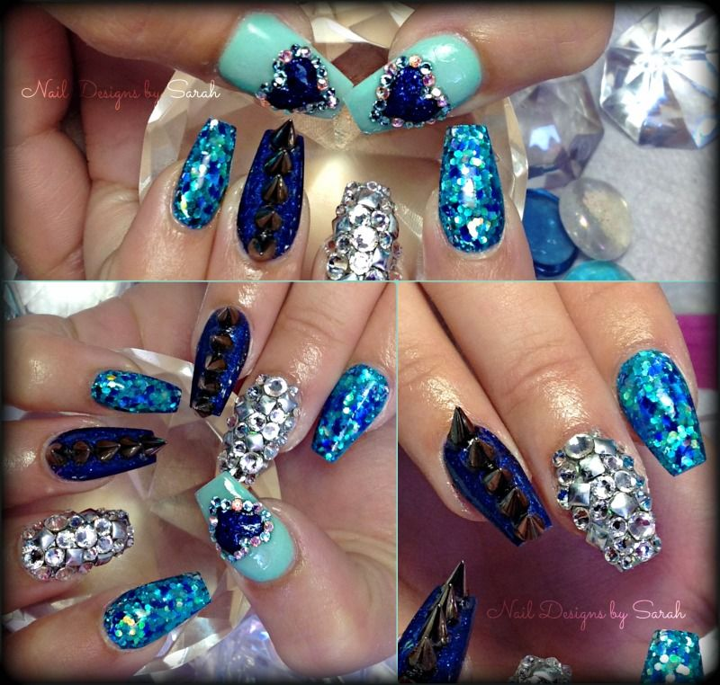 Nail Art Spikes Studs Crystals 3d Nails Nails Pinterest Coffin