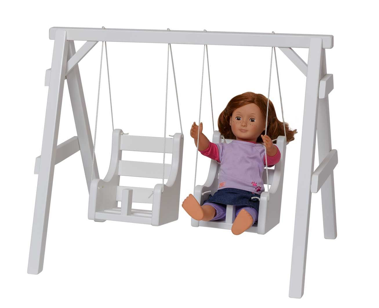American Girl High Chair Matching Living Room Chairs Baby Doll Playground Swing Set Amish Handmade Toy Swings