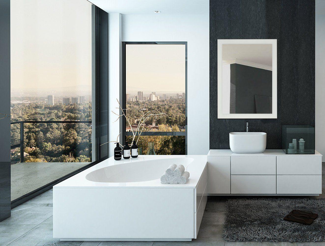 Large Frosted Edge Modern Rectangular Wall Mirror Premium