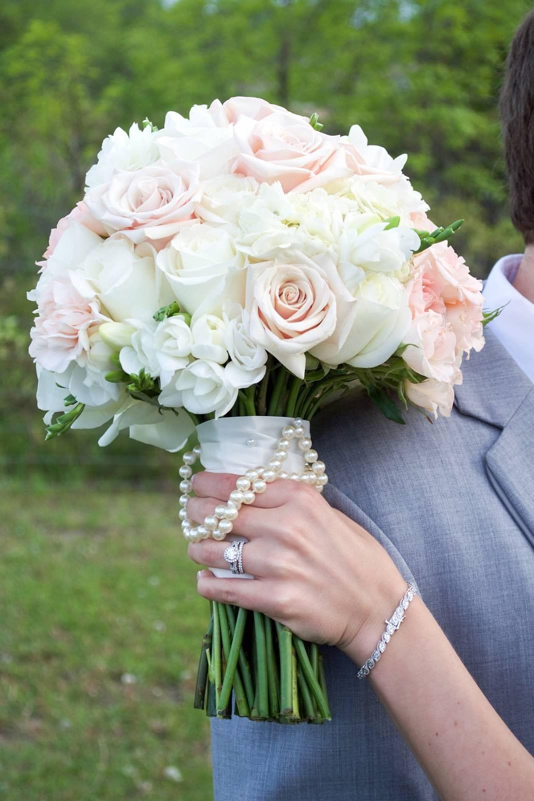 Spring Wedding Blush Pink And Cream Bouquet Bridal Soft Pale