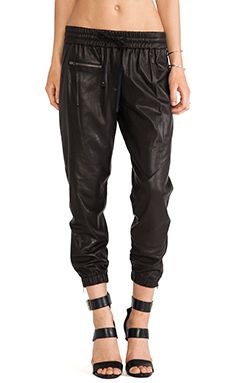 Pam & Gela Perforated Leather Trackpant in Black   REVOLVE