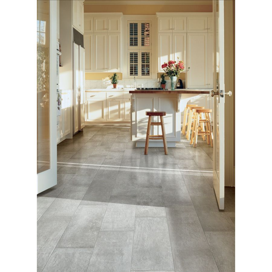 Shop style selections cityside gray glazed porcelain floor tile common 12 in x 24 in actual - Lowes floor tiles porcelain ...