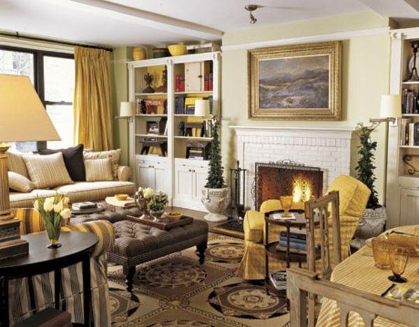 Gemutliches Wohnzimmer Im Landhausstil Sofa Mit Vielen Dekokissen