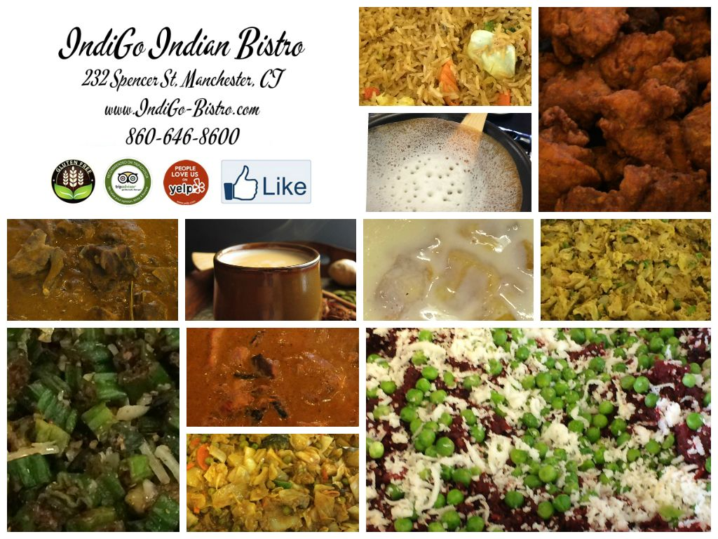 **IndiGo Indian Bistro open on Dec 25, 2014 (Thurs) 11:30 am to 3 pm, Special Brunch will be served. ** 12/21/2014 (Sunday)  Sunday Lunch Buffet : Appam  Appetizer : Channa Batura, Vegetable Stew, Moondal Pokara Rice : Vegetable Biryani  Tandoor : Tandoori Chicken  Chicken : Butter Chicken, Chicken 65  Goat : Goat Malabar  Vegetable : Beetroot Thoran, Kadai Vegetable, Eggplant Varuval, Bhindi Ulyuthiyadu  Dessert : Fruit custard and Moong Dal Halwa #TakoutMenu #PartyPlattersMenu