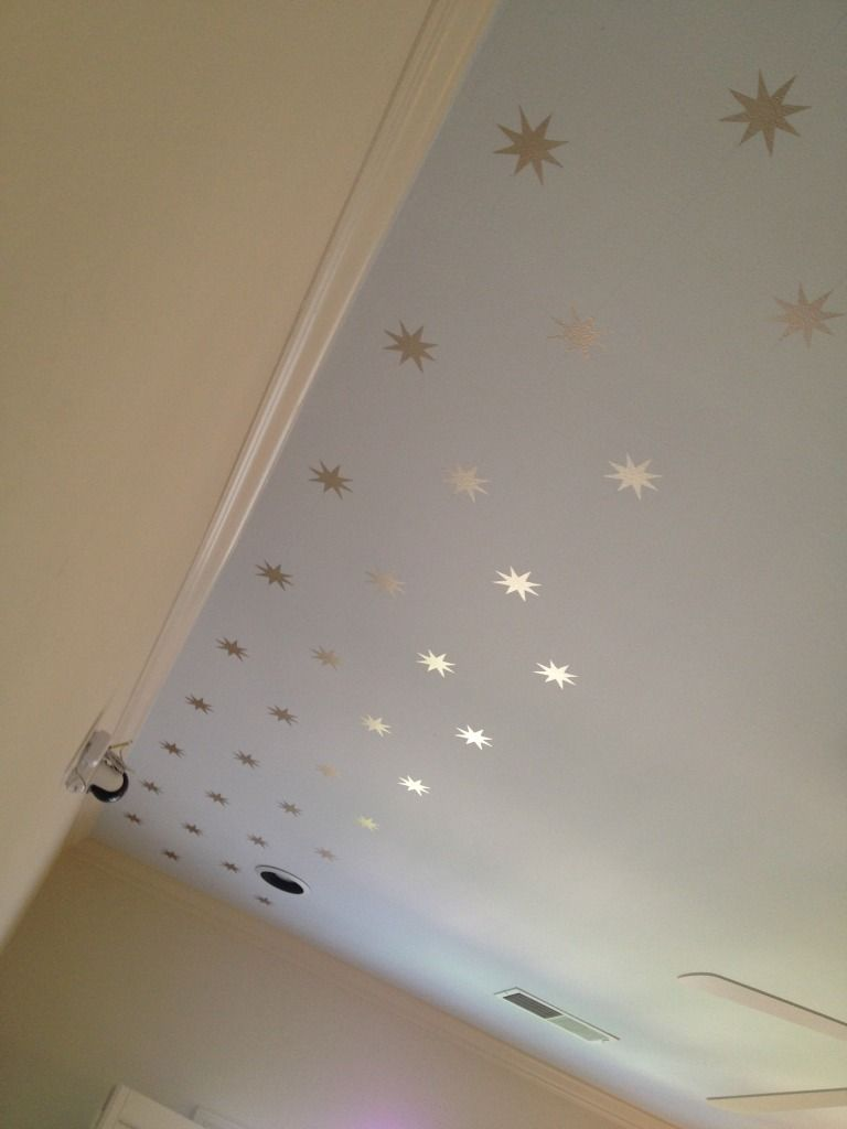 Wall painting stencils kids rooms star stenciled ceiling feels so awesomely retro photo bf