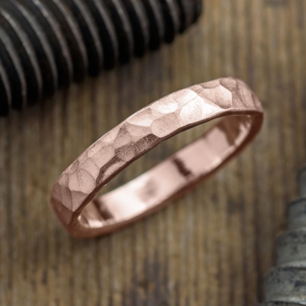 4mm 14k rose gold mens wedding band hammered matte mens