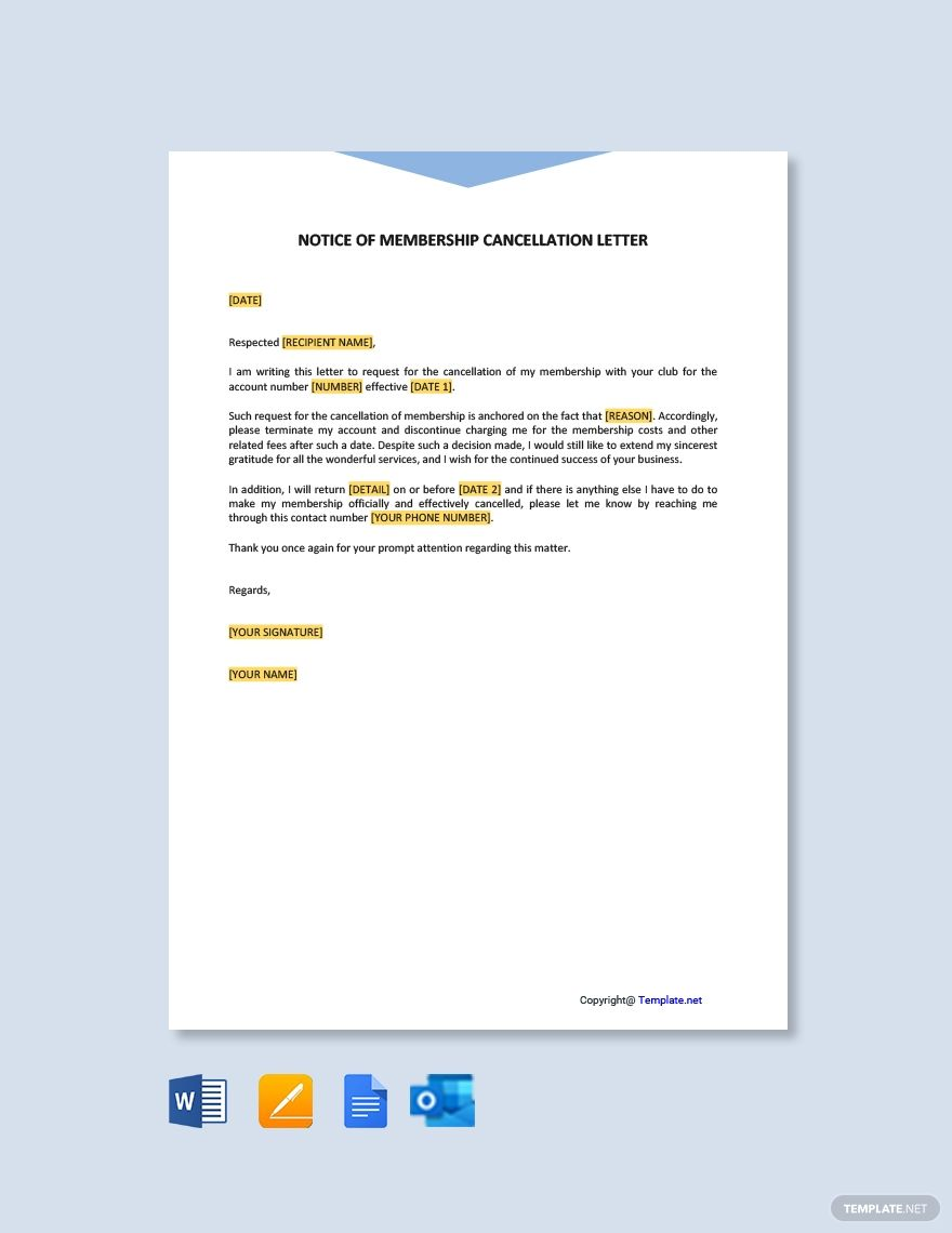 Free notice of membership cancellation letter ad