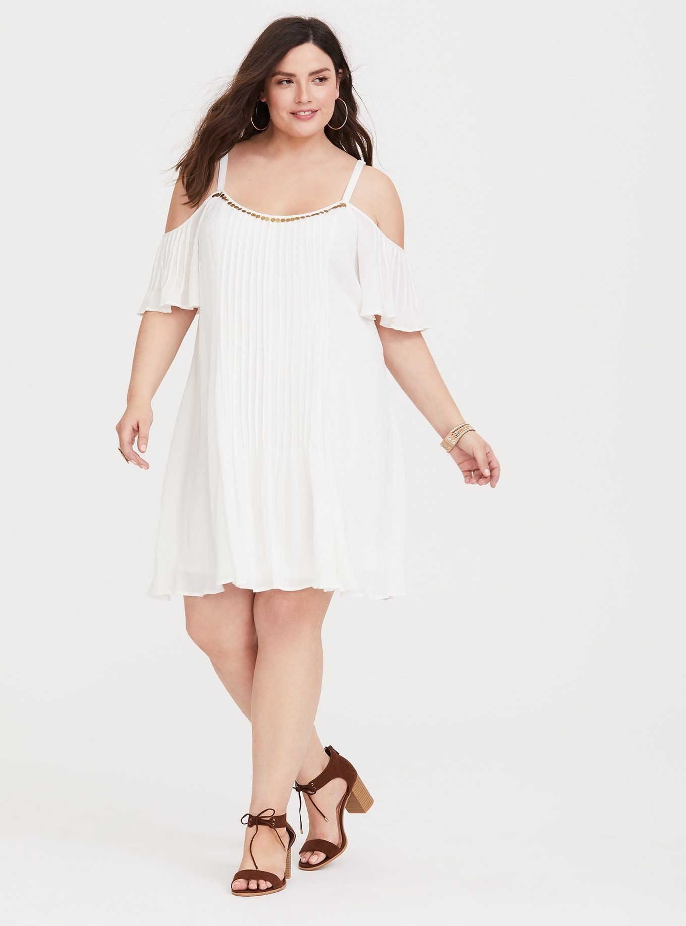 Ivory Gauze Trapeze Dress In 2020 Dresses Trapeze Dress Plus Size Fashion For Women [ 1836 x 1360 Pixel ]
