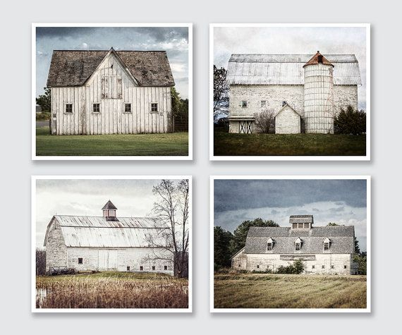 Rustic Farmhouse Wall Art Decor Set Of 4 White And Blue Barn Etsy In 2021 Farmhouse Wall Art Farmhouse Pictures Rustic Chic Wall Decor