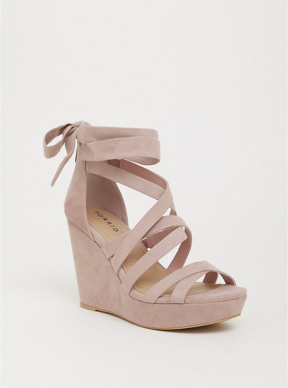Blush Faux Suede Strappy Platform Wedge (WW)