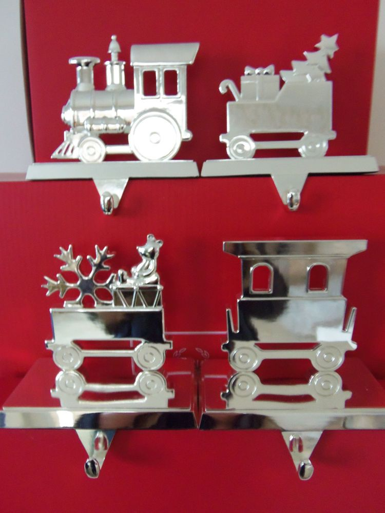 Nib Lenox Holiday Christmas Train Stocking Holders Silver