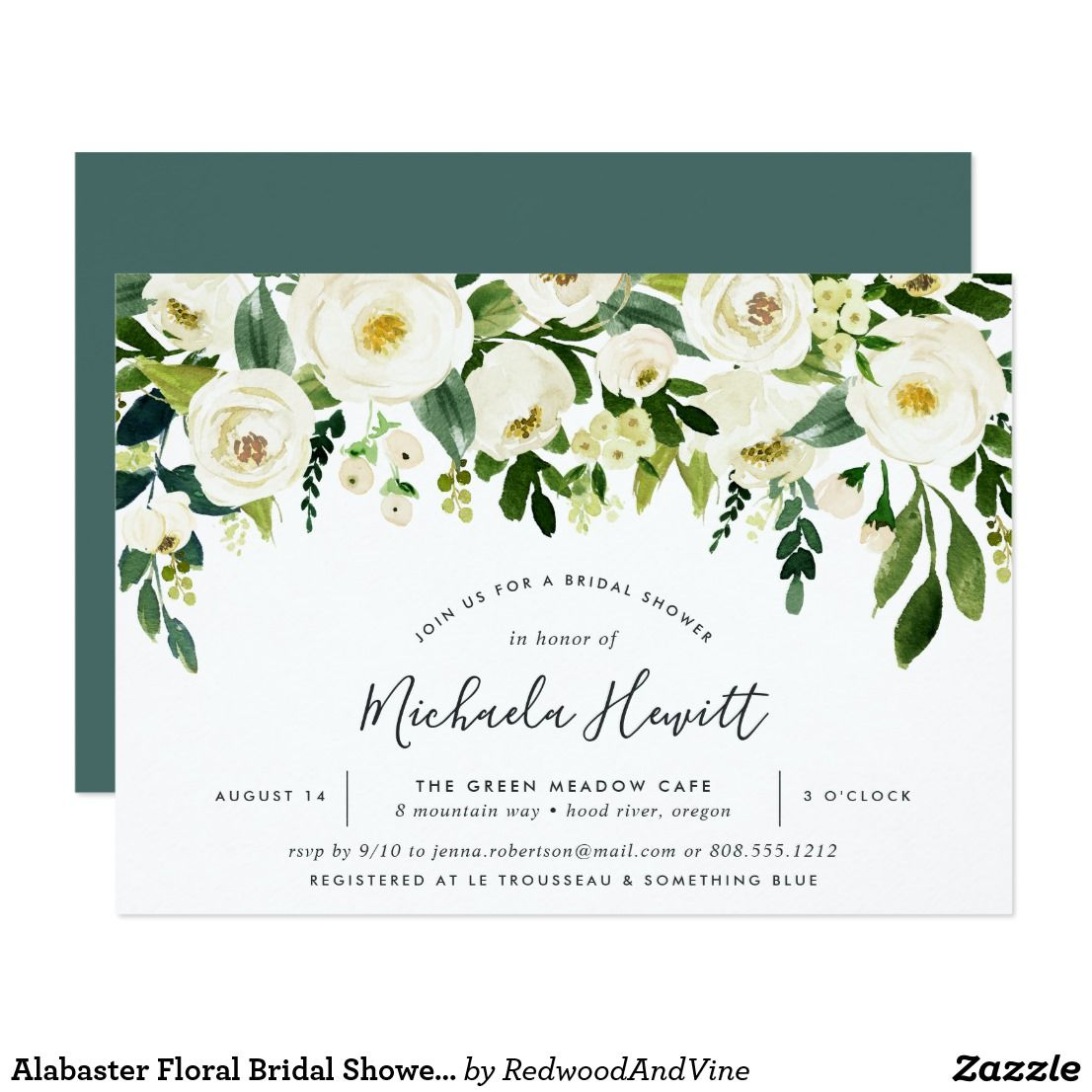 Alabaster Floral Bridal Shower Invitation | Pinterest | Shower ...