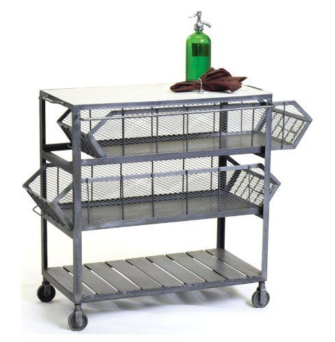 City Cart Industrial Console End Table by Kathy Kuo Designs. $871.00. Vintage industrial finish. Sliding mesh drawers. 33 inches high x 34 inches wide x 19 inches deep. Industrial strength caster feet. Constructed from steel and marble. Why should the mailroom have all the fun? Industrial loft style was built around found objects and the kind of improvisational attitude embodied in this rolling cart. With two sliding drawers, caster feet and marble top, there's ple...