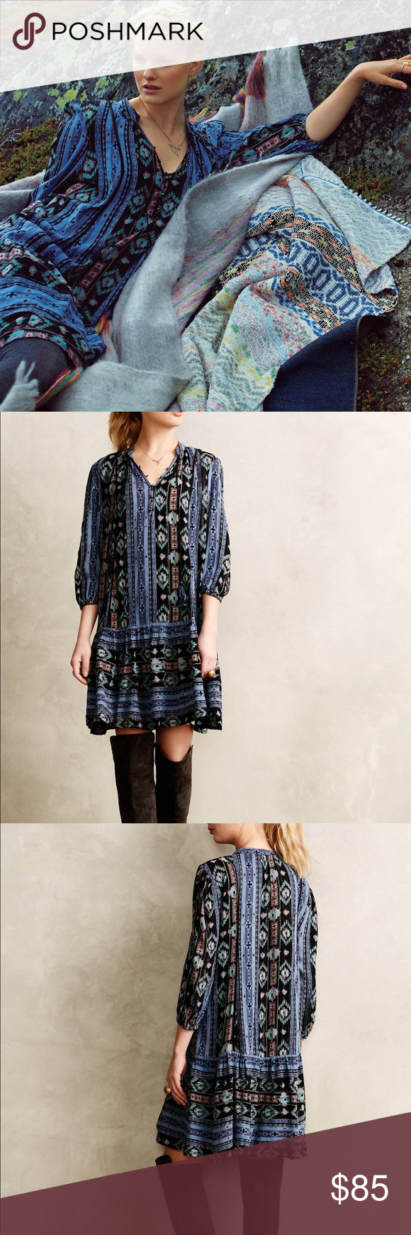 a160bcaebe7 Anthropologie Holding Horses Winter Moon Tunic Top Anthropologie Holding  Horses Winter Moon Loose Fitting Tunic Dress, 3/4 sleeves with elastic hem.