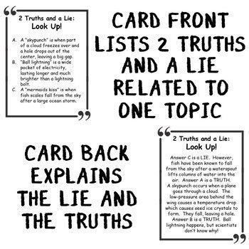 SCIENCE GAME ACTIVITY 2 Truths and a Lie NGSS SCIENCE