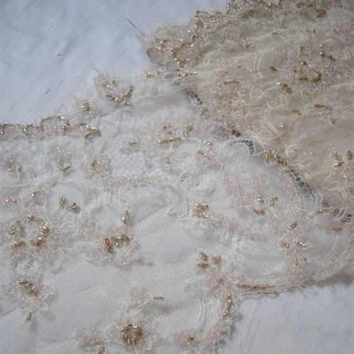 Fine French Beaded BLUSH Lace by allysonjames