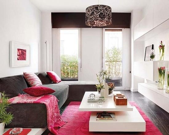 Feminine Living Room Design Ideas Relatively Small Space Gray Sofa Hot Pink Accent Small Apartment Living Room Small Living Room Decor Feminine Living Room