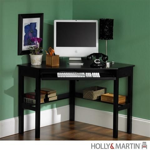 Small Black Corner Desk With Keyboard Tray Computerdesk Com Black Corner Desk Black Corner Computer Desk Desks For Small Spaces
