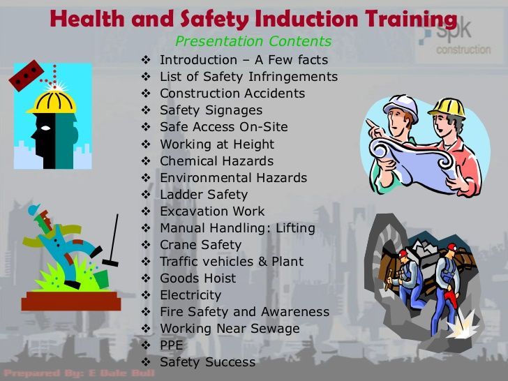 Health and safety induction training presentation contents