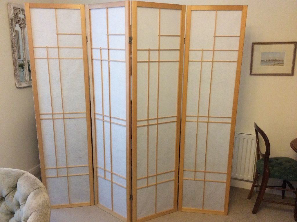 Japanese Style Room Divider Screen Natural Wood And Japanese Paper Full Size Four Fold Folding Screen Room Divider Japanese Room Divider Folding Screen