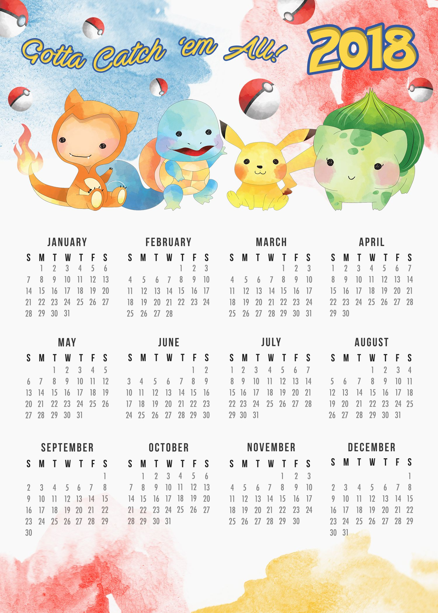 Free Printable 2018 Pokemon Calendar The Cottage Market Pokemon Calendar Scrapbook Printables Free Calendar Printables