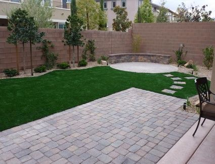 Image Result For Stone And Turf Backyard With Fire Pit
