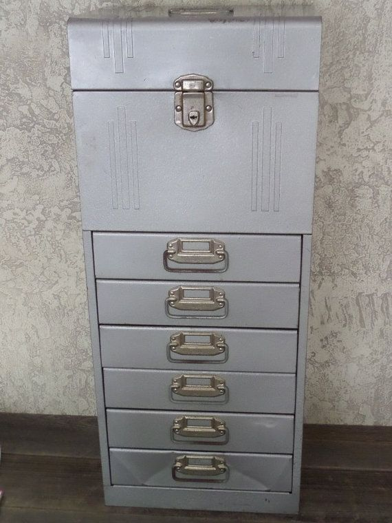 Vintage Acorn Industrial Metal File Box Cabinet Tool By Revives