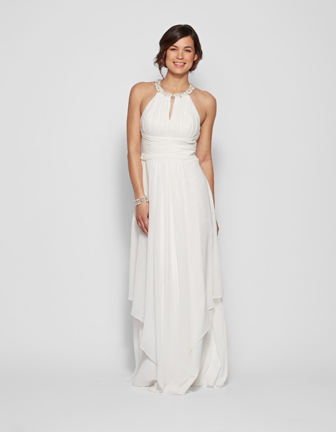 Donna Morgan long halter bridesmaid gown in white.