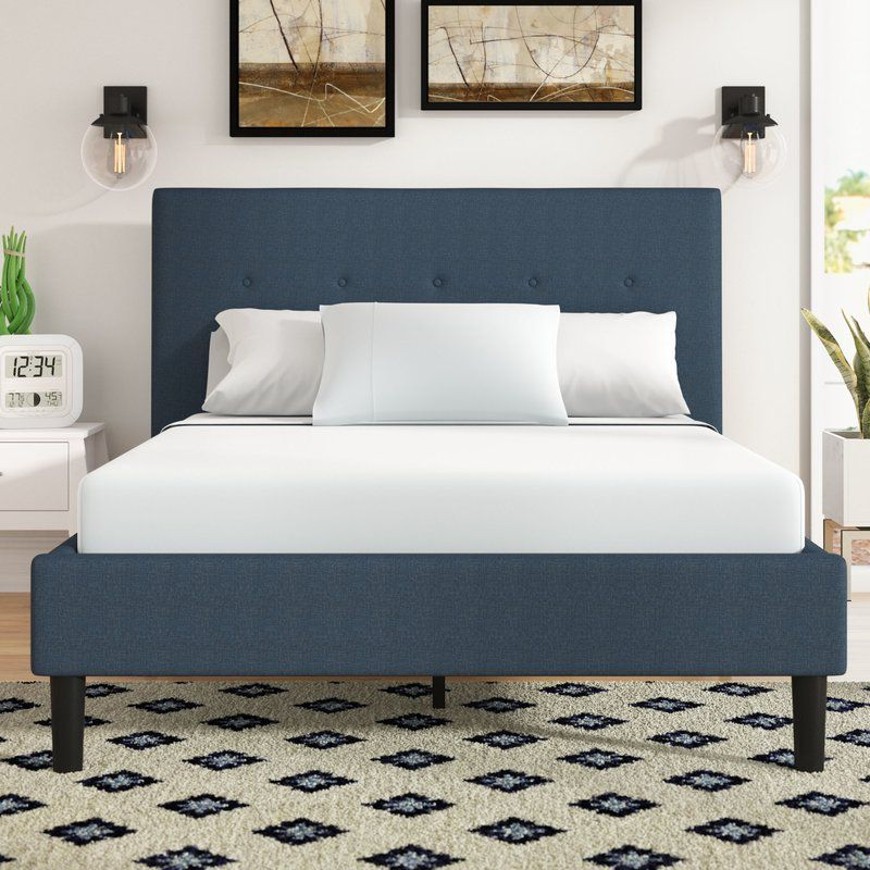 roye button detailed upholstered platform bed small guest bed rh pinterest com