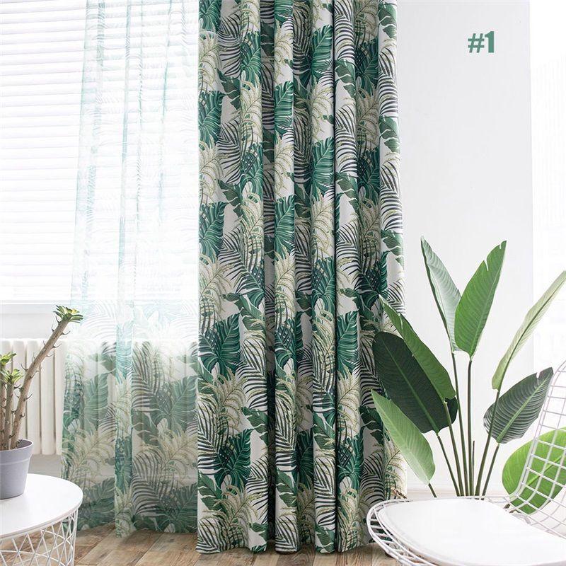Green Leaf Curtain Jungle Themed Romantic American Rural Curtain