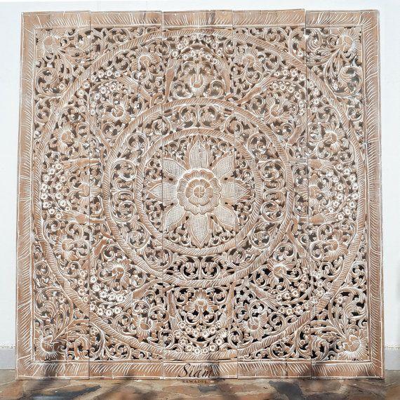 White Wash Carved Wood Wall Art. Reclaim Teak Wall by SiamSawadee