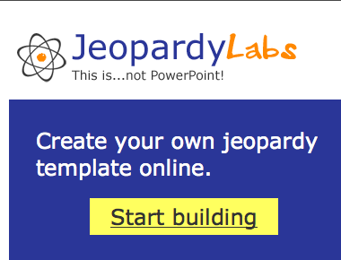 Jeopardy labs allows you to create a customized jeopardy template jeopardy labs allows you to create a customized jeopardy template without powerpoint the games you make can be played online from anywhere in the world maxwellsz