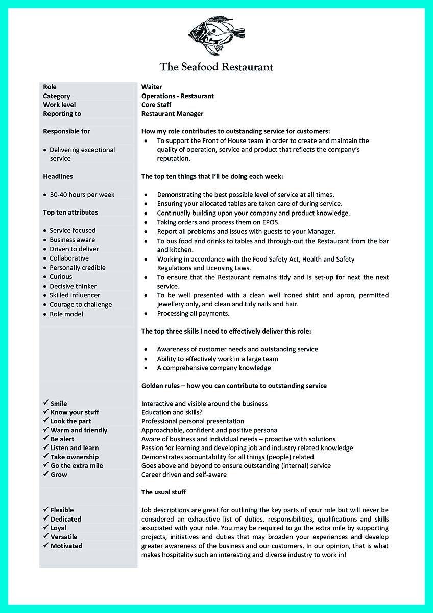 Nice Cocktail Server Resume Skills To Convince Restaurants Or Cafe Server Resume Job Description Template Resume Skills