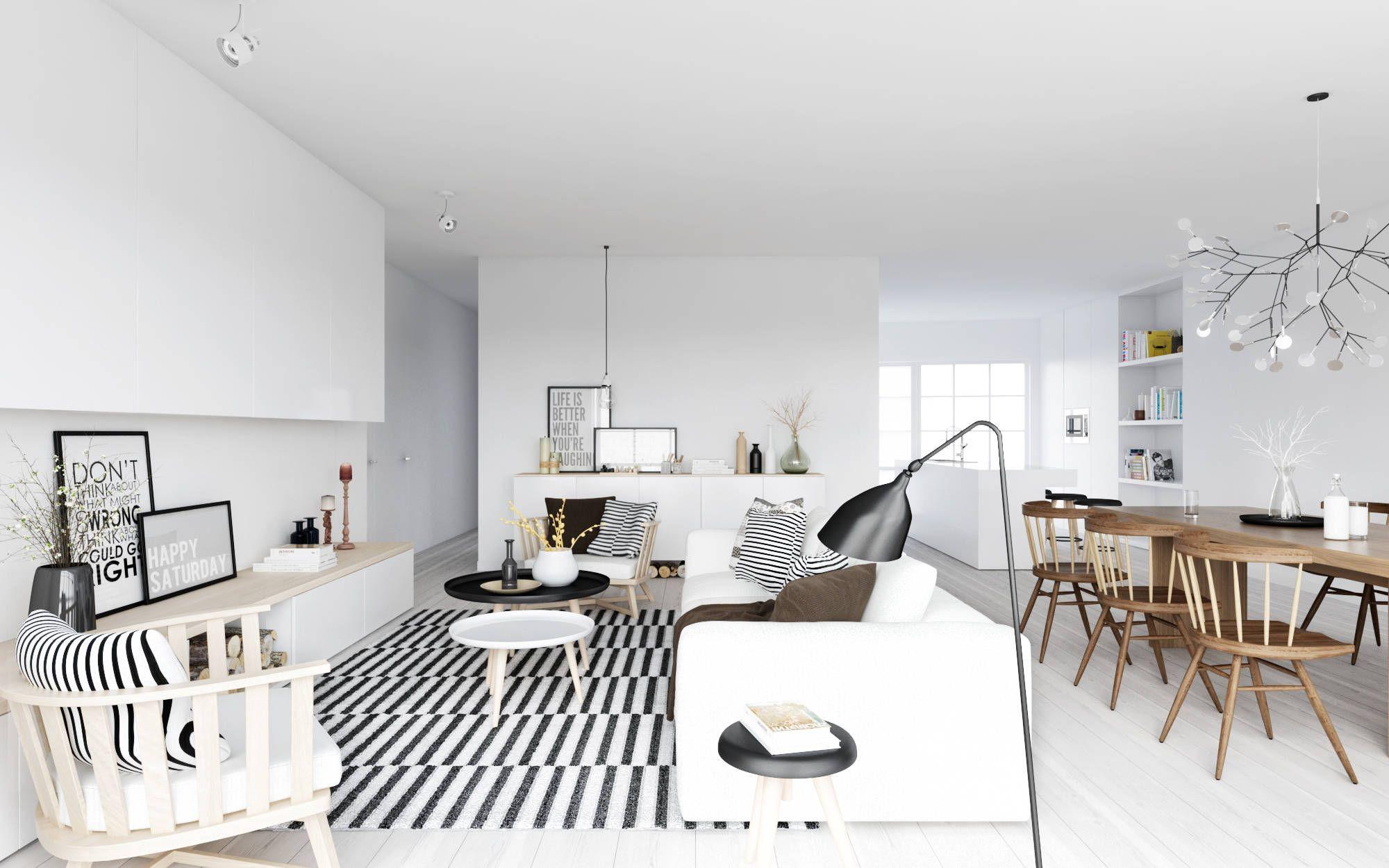 Skandinavisch Wohnzimmer Grauer Teppich Cooler Couchtisch Teppiche