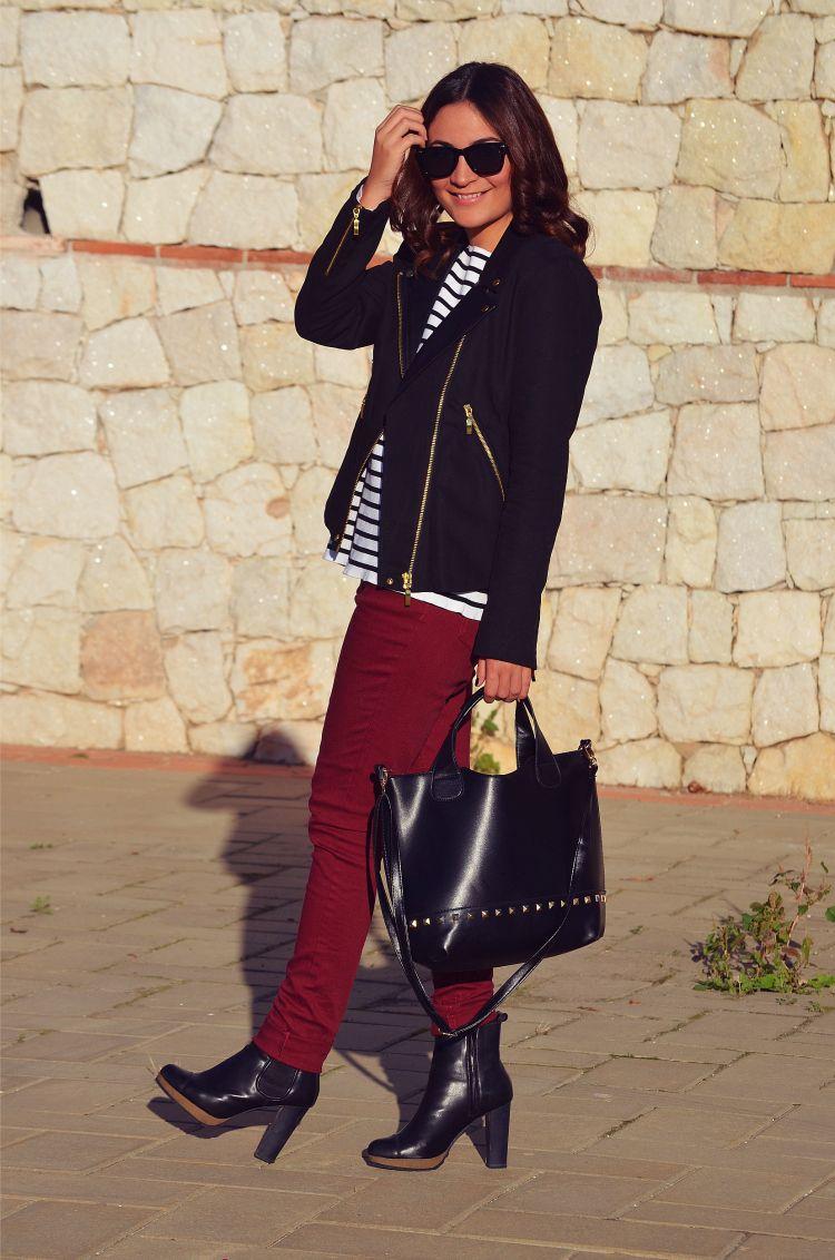 Outfit rojo blanco y negro