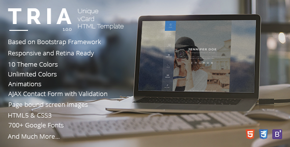 TRIA is a premium unique vCard HTML Template to display ...