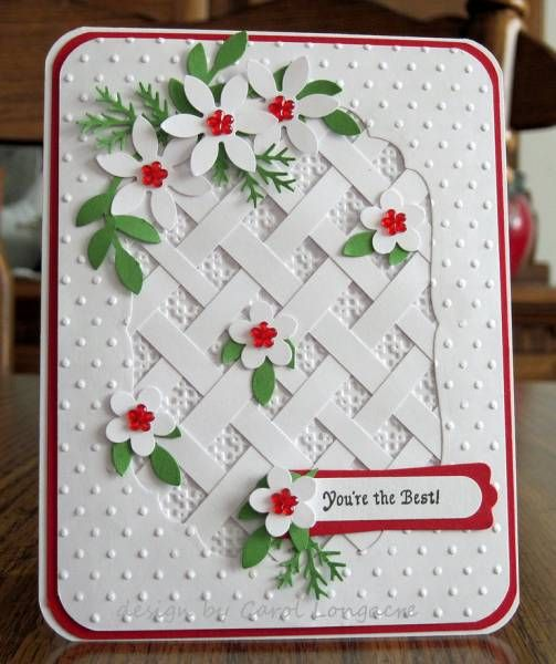 Handmade card white with accents of red and green trellis of clqftd110 for holly by carolpa925 cards and paper crafts at splitcoaststampers paper stripshand madepretty cardsembossing folderpapercraftflower mightylinksfo