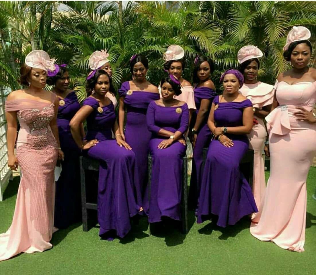 Elegant African Bridal Party Peach Coral Purple Violet