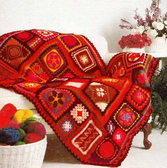 VINTAGE 1970s CROCHET PATTERN- Retro Granny Square Blanket,  Boho/Folk/Ethnic Afghan/Throw Instant Download Pdf from GrannyTakesATrip 0190