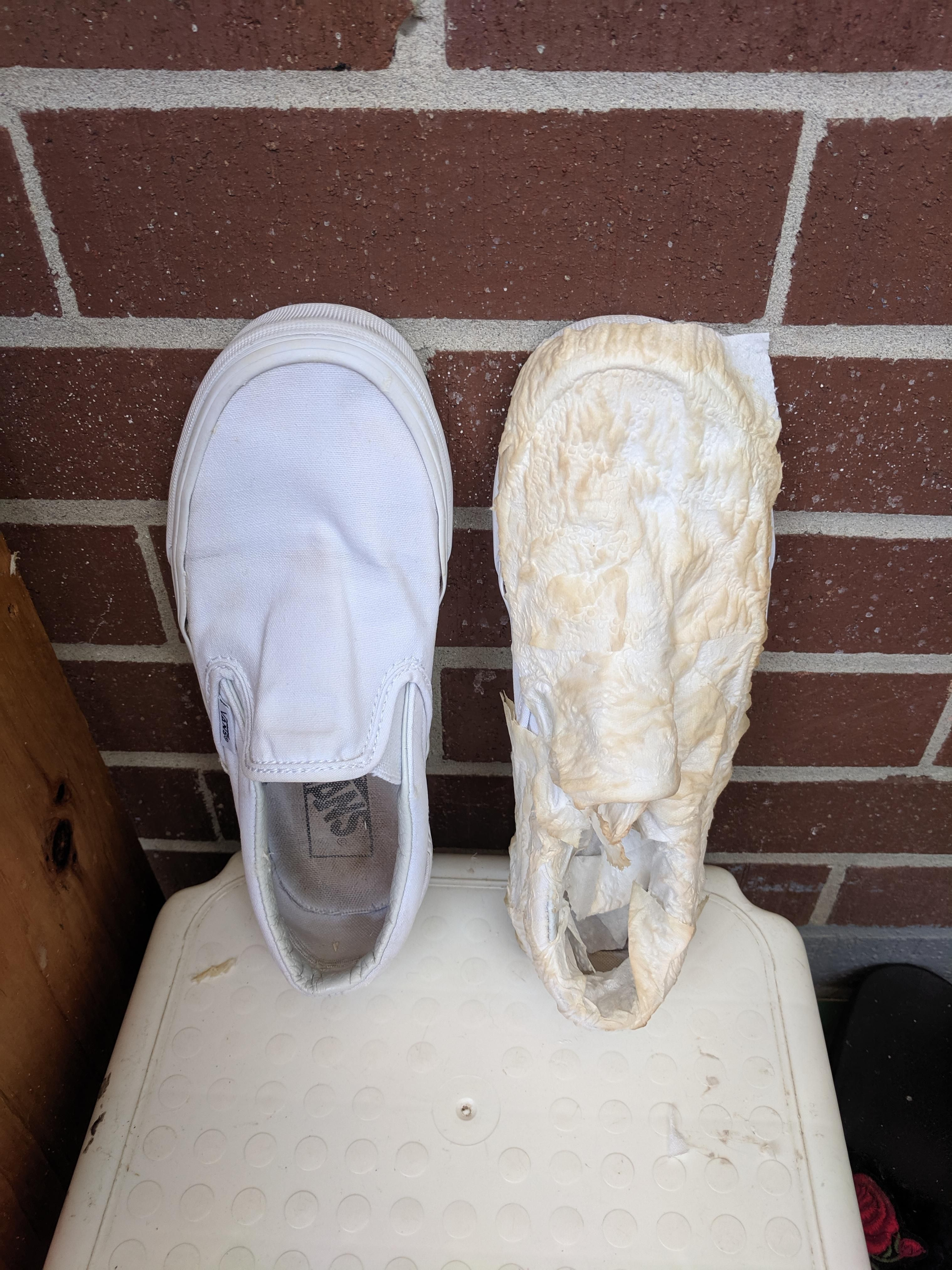 cover your white shoes in toilet paper