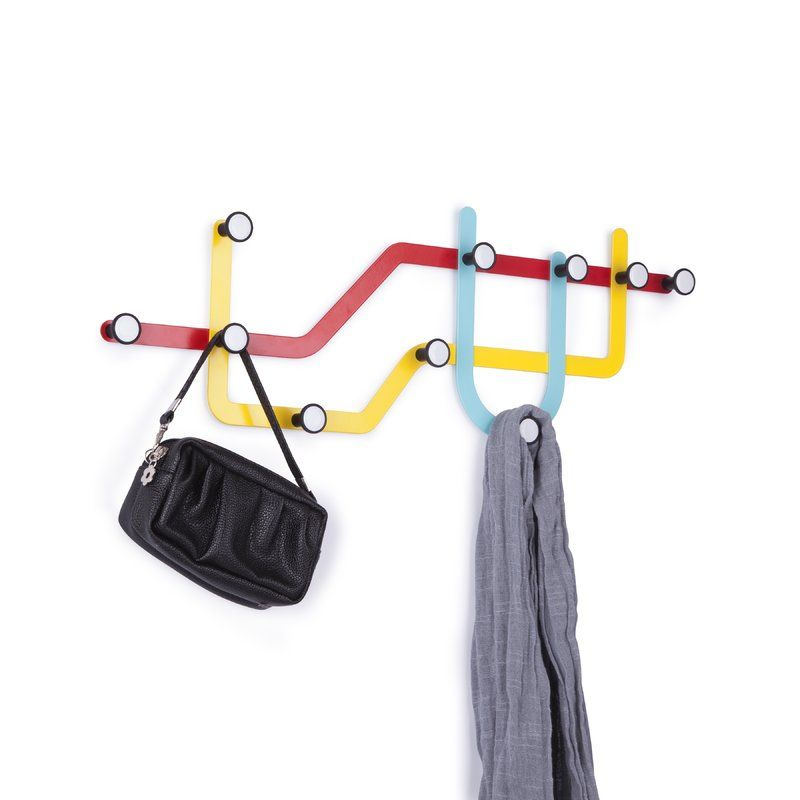 Next Stop Form And Function With The Subway Wall Hook By Umbra Inspired By Public Transit Maps These Powder Coat Wall Mounted Coat Rack Coat Hooks Wall Hooks