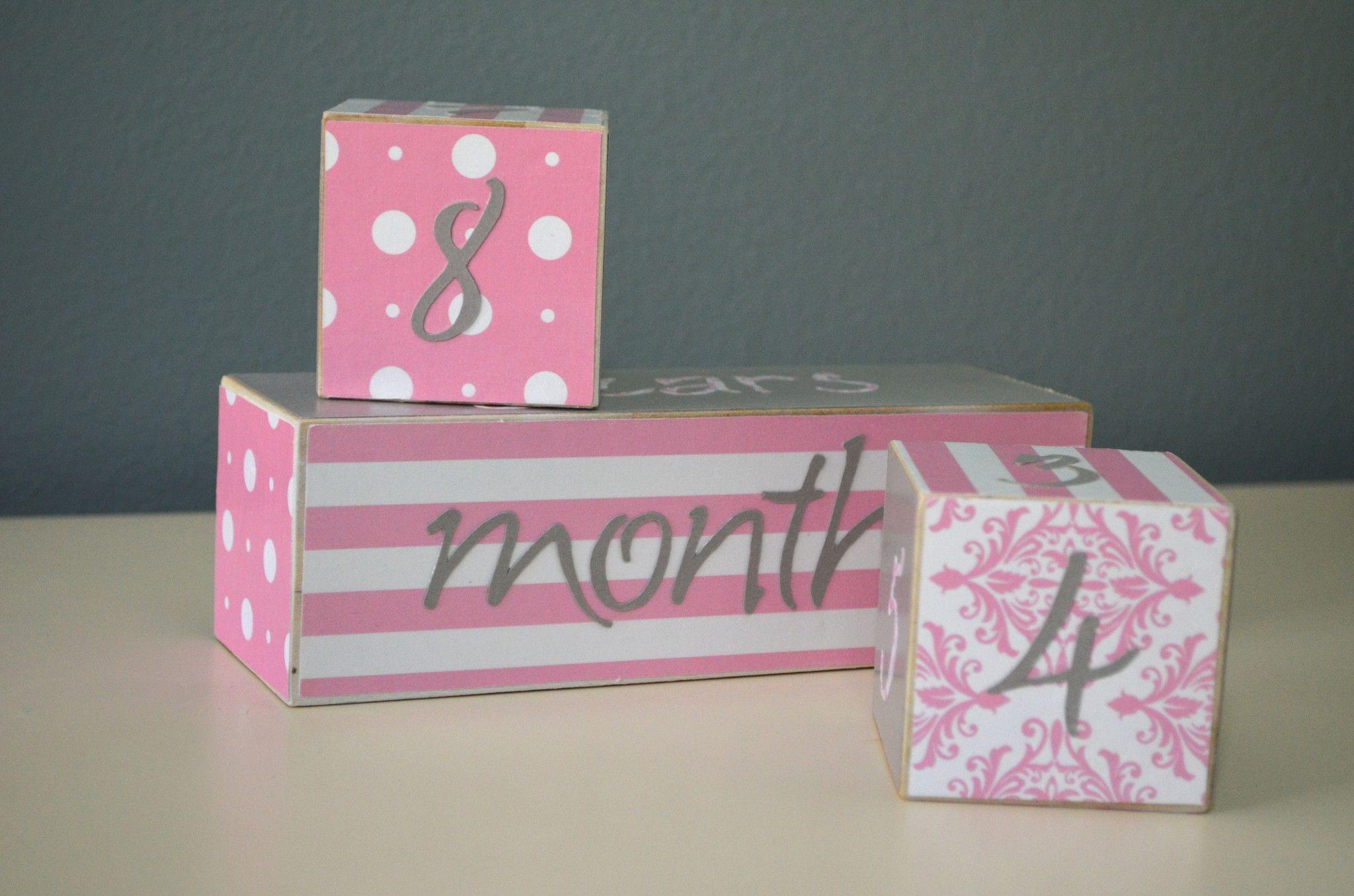 Baby Age Blocks Photo Blocks Pink And Grey Baby Blocks Photo Blocks Gifts For New Parents