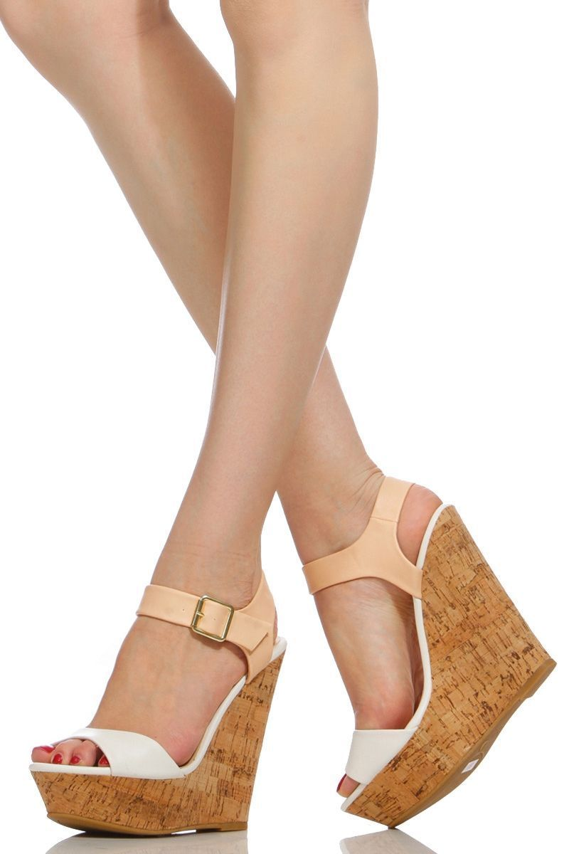 d28c9cc15cc White Two Tone Faux Leather Cork Wedges   Cicihot Wedges Shoes Store Wedge  Shoes