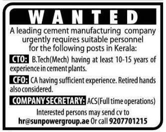 Wanted Cto Cfo Company Secretary  Apply For Best Jobs