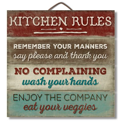 August Grove Kitchen Rules Horizontal Pallet Wood Sign Wall Décor #kitchenrules