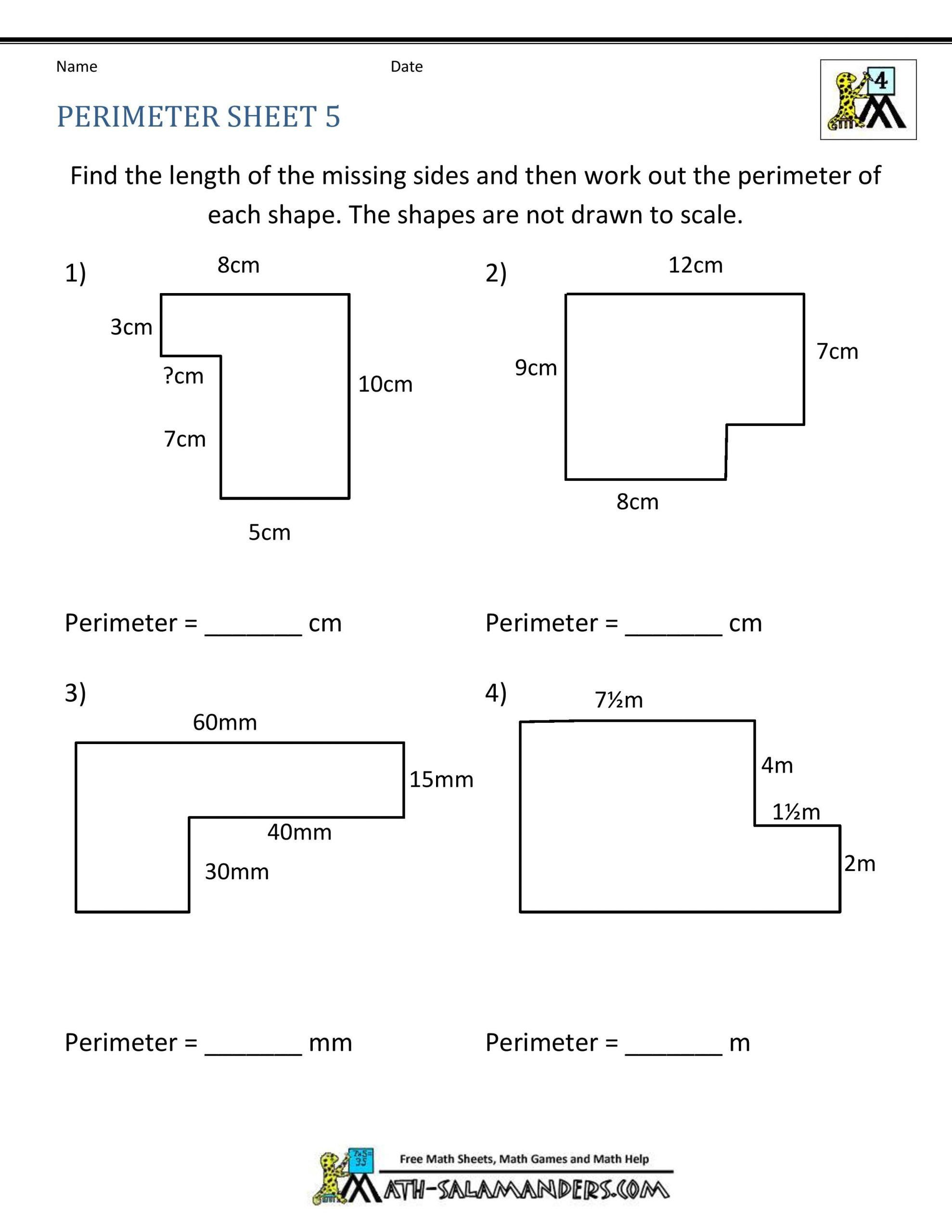 Area Of Rectangles Worksheet Perimeter A Square Worksheet