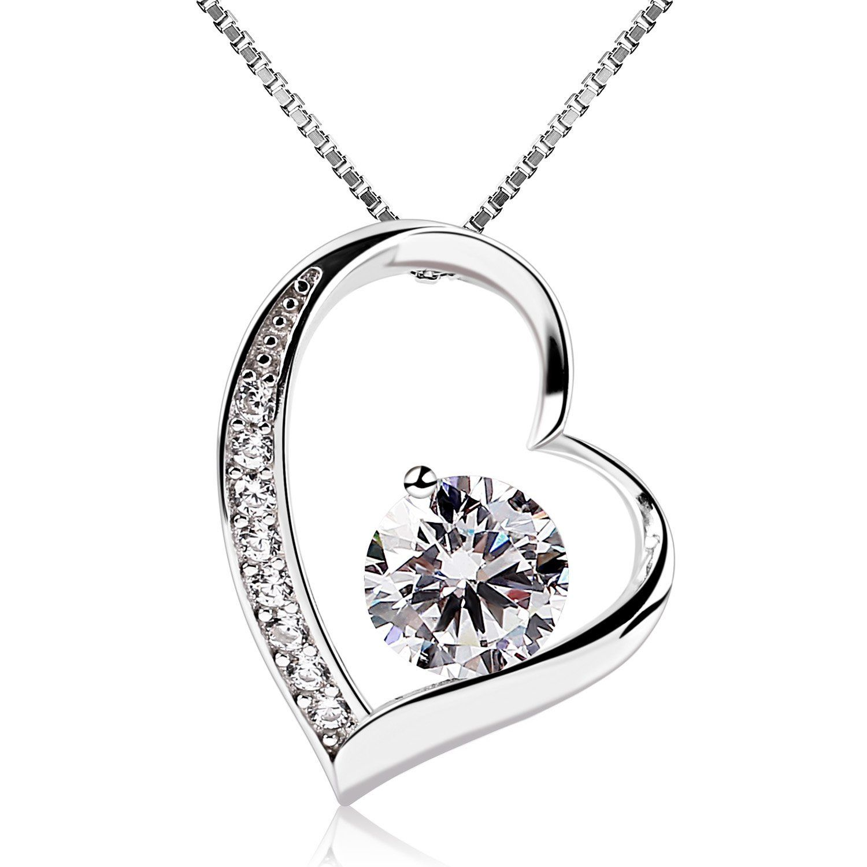 B.Catcher Women Jewellery Eternal Love Necklaces 925 Sterling Silver Cubic Zirconia Knot Pendant,18inch